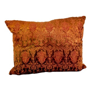 Richard Fischer Collection Gilt Embroidered Silk and Velvet Pillow For Sale