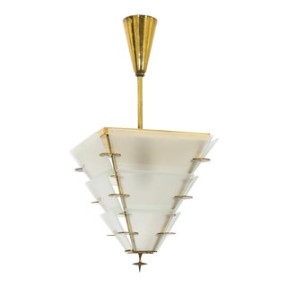 Petite Art Deco Brass and Glass Lantern, 1930s