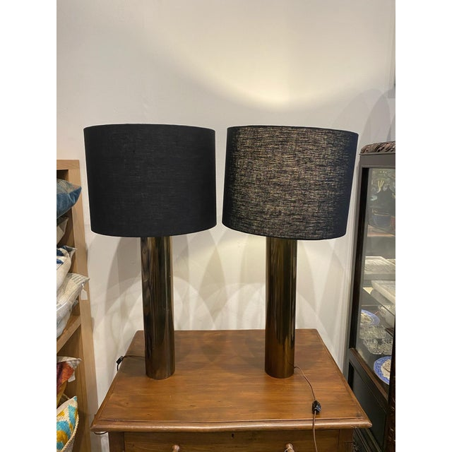Metal Walter Von Nessen Brass Cylinder Lamps - Pair For Sale - Image 7 of 8