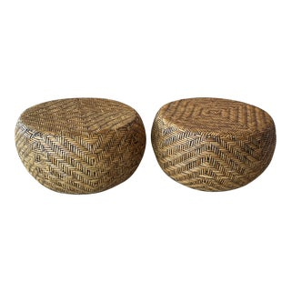 Vintage Woven Wicker Round Footstools Stools Benches Ottomans -A Pair For Sale