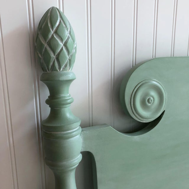 Vintage Shabby Chic Twin Bed With Pineapple Finials For Sale - Image 6 of 8