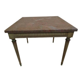 Pair French Modern Neoclassical Painted Wood & Marble Side Tables Maison Jansen