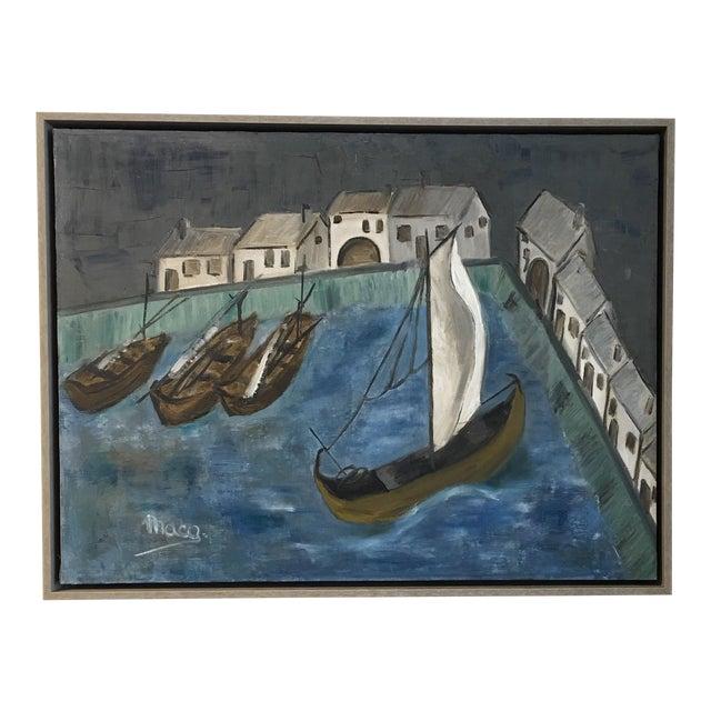 Original Framed Boats Oil Painting - Image 1 of 4