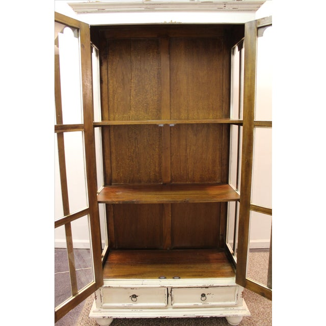 French Country White Distressed Pie Safe Cabinet - Image 10 of 11