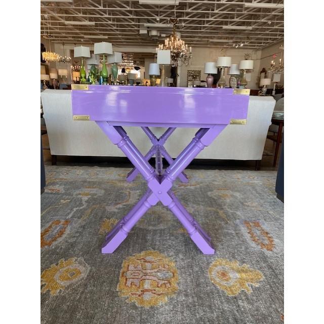 Purple Vintage Campaign Purple Lacquer Writing Desk For Sale - Image 8 of 9