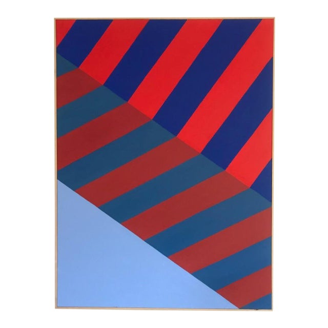 Original Abstract Hard Edge Op Art Painting on Canvas by J. Marquis For Sale