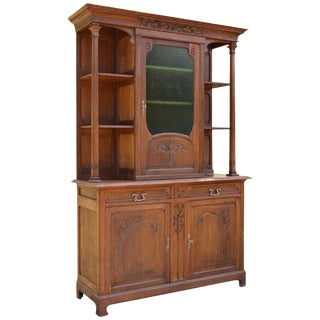1900 Antique French Art Nouveau Carved Chestnut Wood Buffet For Sale