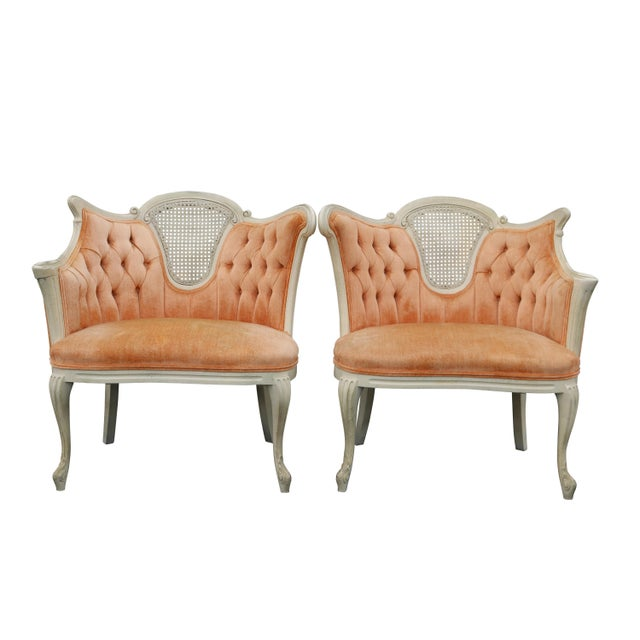 Peach Tufted Velvet Bergere Chairs- A Pair - Image 1 of 5
