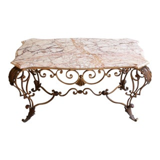 Antique Wrought Iron & Marble Coffee Table For Sale