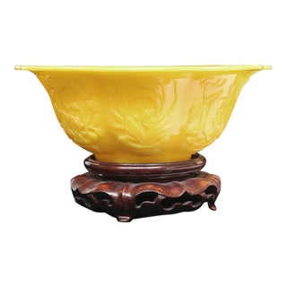 Yellow Peking Bowl on Stand For Sale