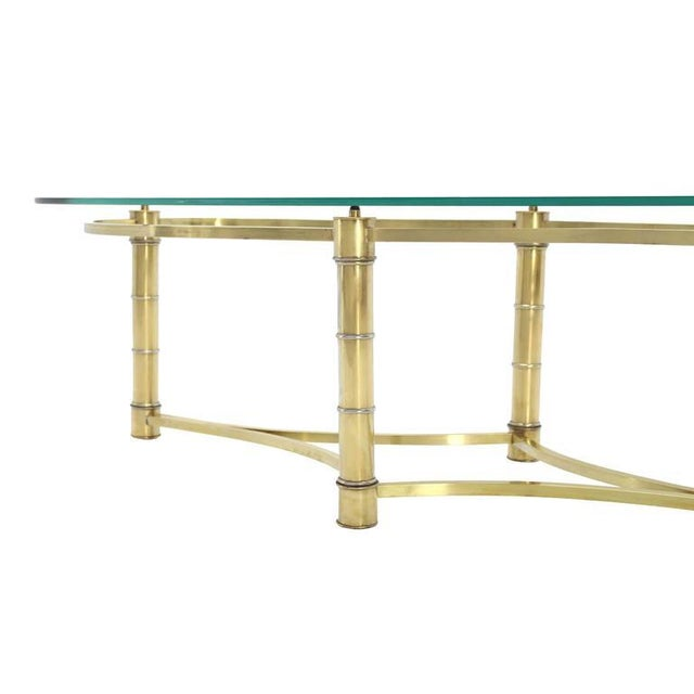 Early 20th Century Brass and Glass Oval Coffee Table For Sale - Image 5 of 7