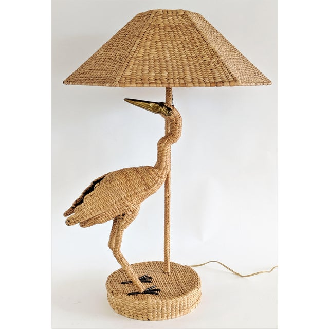 Mario Lopez Torres 1974 Monumental Egret Wicker Table Lamp For Sale - Image 13 of 13
