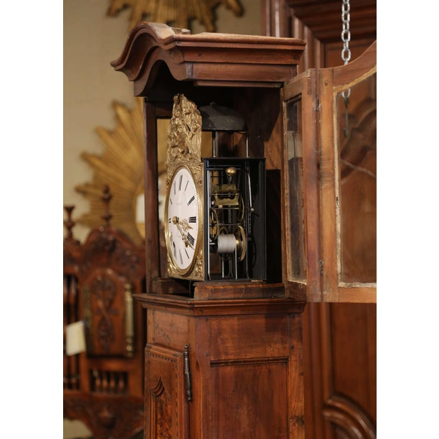 Late 18th Century French Louis XV Carved Burl Walnut Tall Case Clock From Lyon For Sale - Image 11 of 13