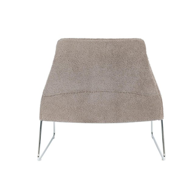 """2020s Gray Wool """"Shearling"""" Covered Easy Chair With Chrome Frame B&b Italia For Sale - Image 5 of 6"""