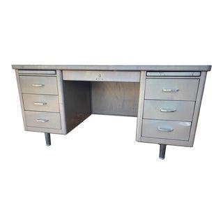 Vintage Steelcase Metal Executive Tanker Desk For Sale