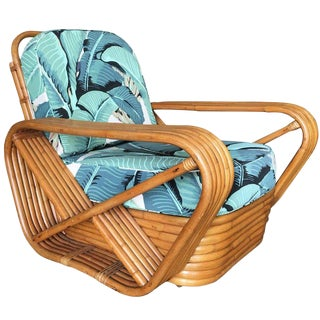 Restored Pretzel Rattan Lounge Chair, Beverly Palms Cushions For Sale