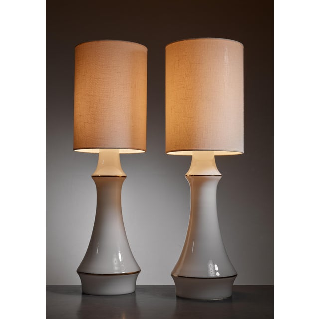 Lisa Johansson-Pape pair of white table lamps for Orno, Finland, 1950s - Image 3 of 3