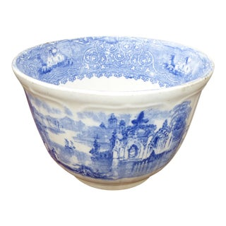 1800s Blue & White Hand Painted Porcelain China Bowl For Sale