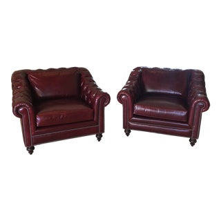 Vintage Henredon Red Leather Tufted Chesterfield Chairs- a Pair For Sale