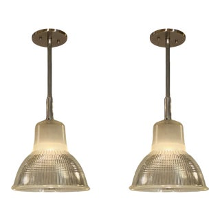 1950s French Industrial Pendant Lights - a Pair For Sale