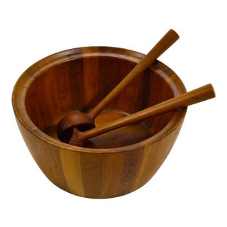 Oversize Staved Teak Bowl & Servers by Richard Nissen For Sale