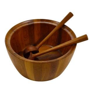 Oversize Staved Teak Bowl & Servers by Richard Nissen For Sale