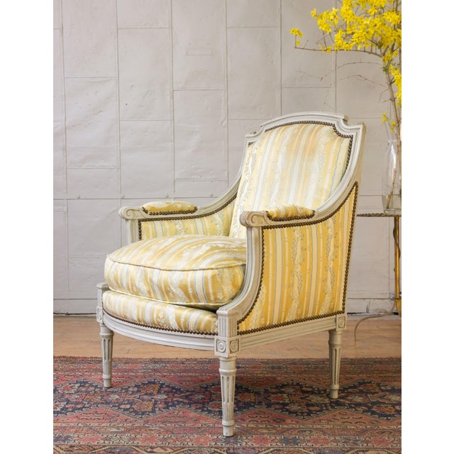 French Pair of French Louis XVI Style Armchairs For Sale - Image 3 of 12