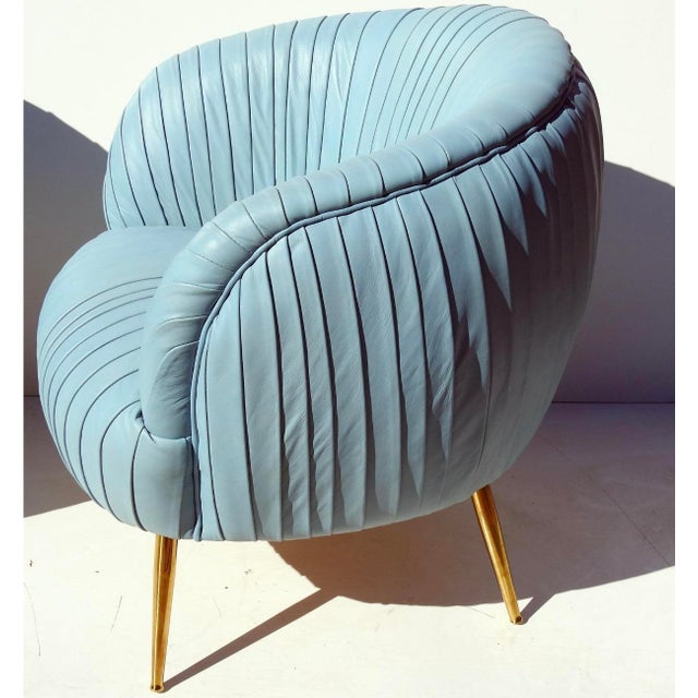 Modern Rouched Leather Lounge Chairs - a Pair For Sale In New York - Image 6 of 7