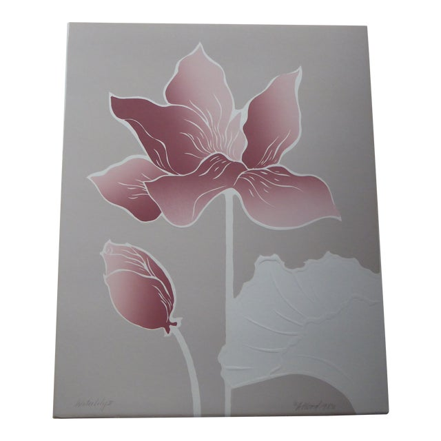 1980s Graphic Waterlily with Shell Serigraph II For Sale