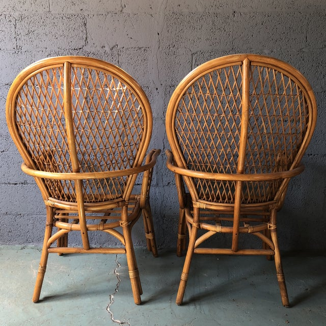 1980s Boho Chic Rattan Fan Peacock Chairs - a Pair For Sale - Image 4 of 13
