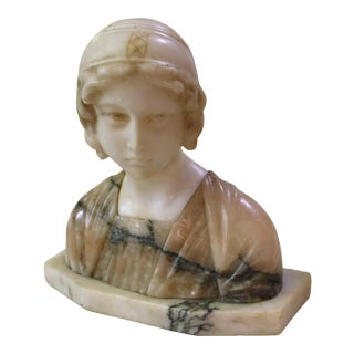 Early 20th Century Italian Marble & Alabaster Bust of a Young Woman Signed For Sale