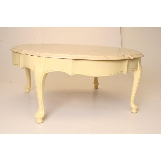 French Provincial Oval Coffee Table: Vintage French Provincial Marble Top Round Coffee Table