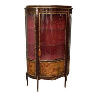 Antique French Louis XVI Mahogany Painted Ormolu Vitrine For Sale