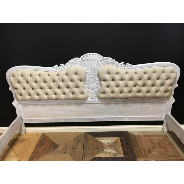 Gustiavian White Washed Baroque Style Carved Tufted Linen King Size Bedframe For Sale - Image 4 of 10