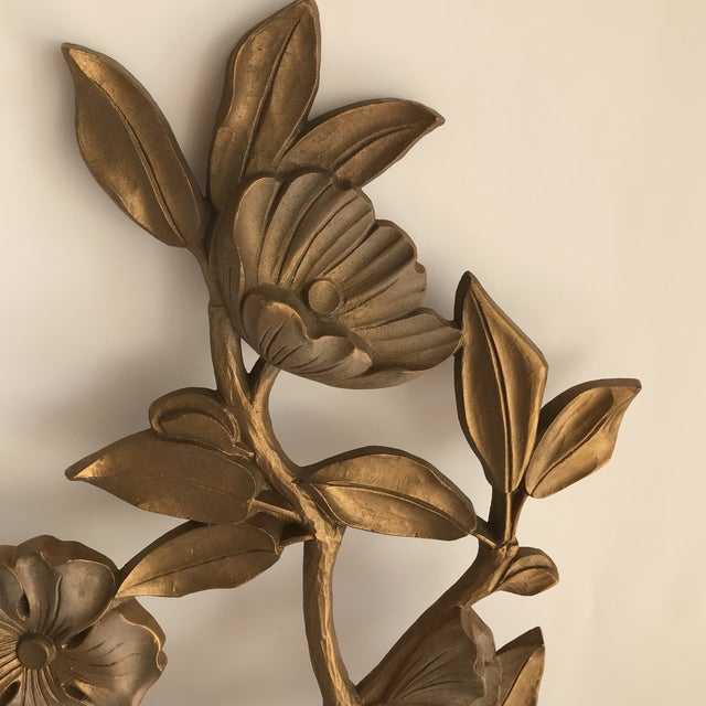 b69469f6095 Mid-Century Modern Mid-Century Gold Floral Wall Decor - A Pair For Sale