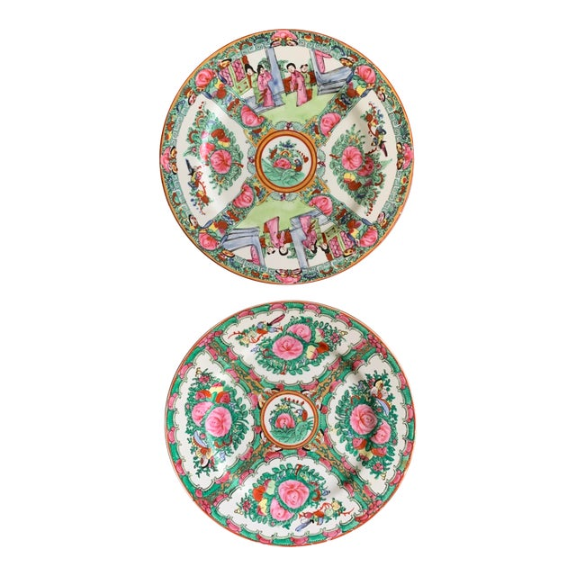 1970s Vintage Chinese Rose Medallion Famille Rose Hand Decorated Porcelain Plates - a Pair For Sale