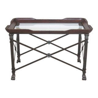 1990s Vintage Maitland Smith Leather & Glass Top Iron Base Coffee Table For Sale