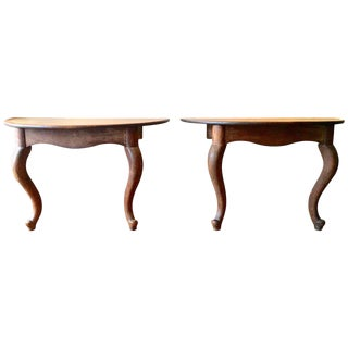 Pair of Walnut Console Demilune Tables
