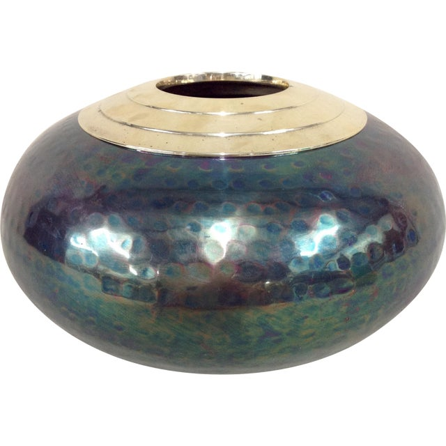 Iridescent Mixed Metal Vase For Sale