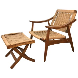 Wegner Style Lounge Chair and Ottoman For Sale