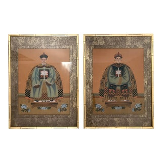 Late 20th Century Emperor & Empress Ancestor Portrait Paintings, Gold Framed - a Pair For Sale