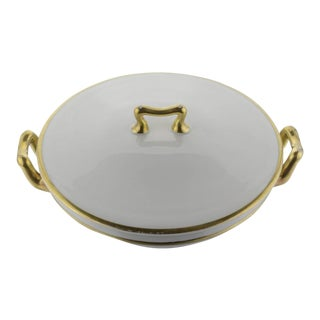Porcelain Covered Serving Dish with Gilt Handles