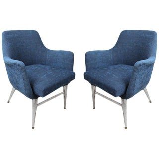 Mid-Century Modern Blue Silk Linen Chairs With Chrome Base and Legs - a Pair
