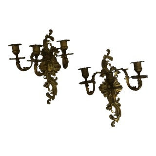 Antique Italian Gilt Brass Wall Candle Sconces - a Pair For Sale