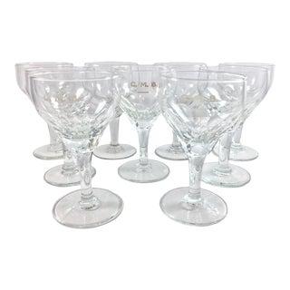 Vintage Crystal Wine Glasses From Belgian Passenger Ship - Set of 9 For Sale