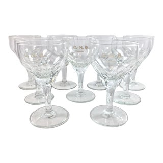 Vintage Early 20th Century Embossed Crystal Wine Glasses - Set of 9 For Sale