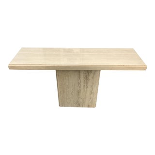 Mid-Century Modern Polished Travertine Console Table For Sale