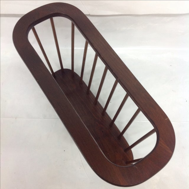 Arthur Umanoff Walnut Spindle Magazine Rack - Image 4 of 5