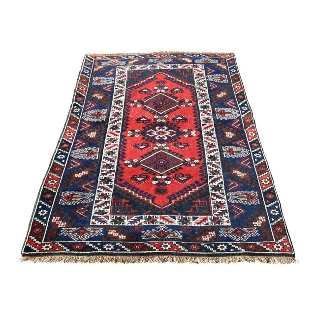 Turkish Oushak Aztec Rug Anatolian Hand Knotted Wool Area Rug Authentic Oriental Rug 4x6 Ft For Sale