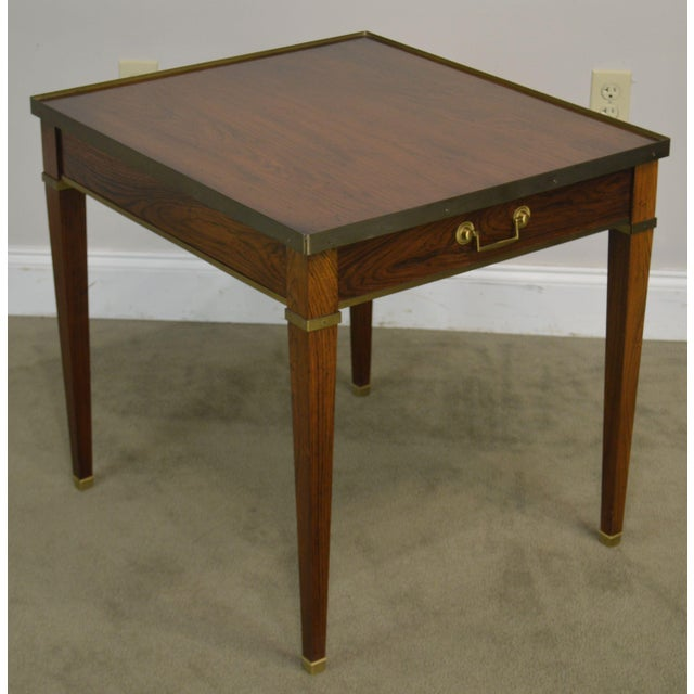 High Quality American Made Vintage Rosewood Side Table with Dovetailed Drawer and Brass Accents